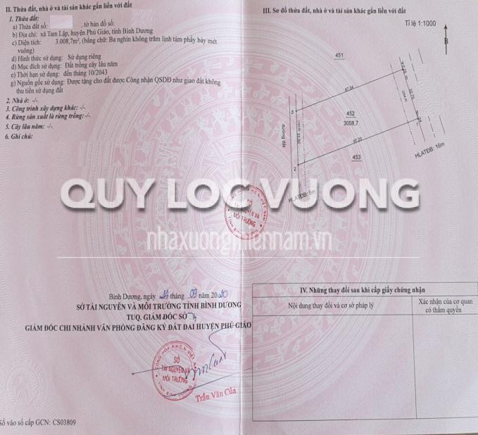 Bán đất trống đối diện khu công nghiệp Tam Lập huyện Phú Giáo, rộng 33.000m2