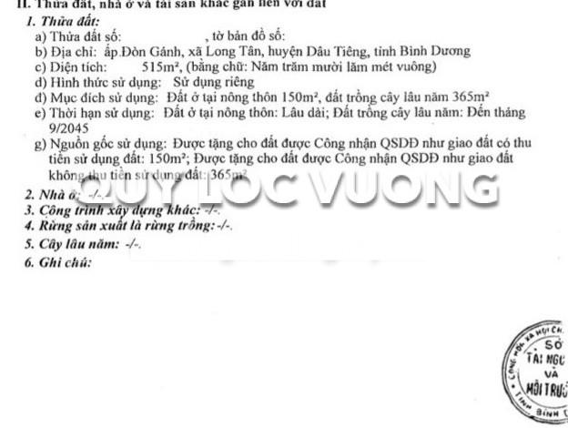 Bán nhà xưởng sản xuất xã Long Tân huyện Dầu Tiếng Bình Dương, 2.200m2